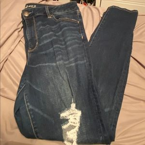 American eagle dark washed ripped jeans size 16